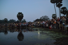 people at sunrise angkor wat